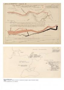 La carte de Charles Joseph Minard, 1869 (en haut), source d'inspiration pour l'Atlas russe de Maciunas ?