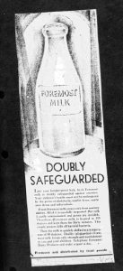 "Fig.5. ""Doubly Safegarded"". Publicité pour Foremost Milk. 1929-1930. J. Walter Thompson Company. 35mm Microfilm Proofs, 1906-1960 and undated. Reel 9."