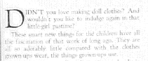 Fig. 14. La nostalgie de la poupée. Publicité pour Barbours Linen Thread (détail), 1926-1927. Source : J. Walter Thompson Company. 35mm Microfilm Proofs, 1906-1960 and undated. Reel 2.