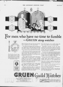 "Fig.1. ""For men who have no time to fumble..."". Publicité pour Gruen Guild Watches, The Saturday Evening Post, July 19, 1924, p.122. Source : J. Walter Thompson Company. 35mm Microfilm Proofs, 1906-1960 and undated. Reel 12."