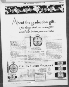 "Fig.9. ""About The Graduation Gift"". Publicité pour Gruen Guild Watches, v. 1924. Source : J. Walter Thompson Company. 35mm Microfilm Proofs, 1906-1960 and undated. Reel 12."