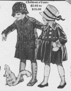 Fig.11.a. Children's Coat. Catalogue des grands magasins The Charles Williams Store (détail), New York, vers 1914-1919. Source : J. Walter Thompson Company. 35mm Microfilm Proofs, 1906-1960 and undated. Reel 40.