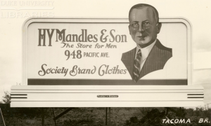 Fig.15. Society Grand Clothes. Panneau d'affichage pour HY Mandles & Son Store for Men, vers 1934-1941 (?). Source : Outdoor Advertising Association of America (OAAA) Archives, 1885-1990s.
