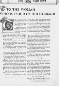 "Fig.2. ""To the Woman who is proud of Her Husband"". Publicité pour Gruen Guild Watches, v. 1924. Source : J. Walter Thompson Company. 35mm Microfilm Proofs, 1906-1960 and undated. Reel 12."