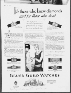 "Fig.4. ""For Publicité pour Gruen Guild Watches, The Saturday Evening Post, July 19, 1924, p.122. Source : J. Walter Thompson Company. 35mm Microfilm Proofs, 1906-1960 and undated. Reel 12."