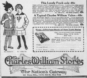Fig.5.a. The Little Lady and the Windsome Maid. Cataloguedes grands magasins The Charles Williams Store (détail), New York, vers 1914-1919. Sources :  J. Walter Thompson Company. 35mm Microfilm Proofs, 1906-1960 and undated. Reel 40.