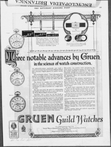 "Fig.7. ""Three notable advances by Gruen in t Publicité pour Gruen Guild Watches, v. 1924. Source : J. Walter Thompson Company. 35mm Microfilm Proofs, 1906-1960 and undated. Reel 12."