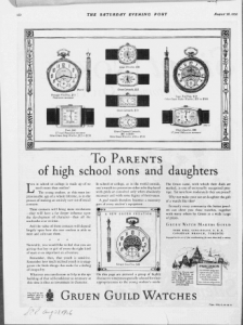 "Fig.8. ""To Parents of Hig School sons and Daughters"". Publicité pour Gruen Guild Watches, v. 1924. Source : J. Walter Thompson Company. 35mm Microfilm Proofs, 1906-1960 and undated. Reel 12."