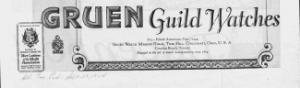 Fig.1. Logo de la marque de montre Gruen Guild Watches, v. 1924. Source : J. Walter Thompson Company. 35mm Microfilm Proofs, 1906-1960 and undated. Reel 12.