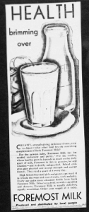 "Fig. 17. ""Health Brimming Over"". Publicité pour Foremost Milk. 1929-1930. Source : J. Walter Thompson Company. 35mm Microfilm Proofs, 1906-1960 and undated. Reel 9."