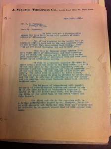 Lettre du Vice-Président Stanley Resor à C.E. Raymond (Chicago Office), New York, 10 juin 1910. Source : JWC Newsletter Collection, 1910-2005, Box MN1.