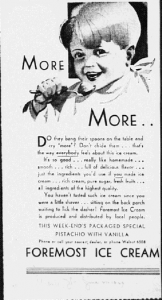 "Fig. 12. ""More...More..."". Publicité pour Foremost Milk. 1929-1930. Source : J. Walter Thompson Company. 35mm Microfilm Proofs, 1906-1960 and undated. Reel 9."