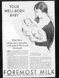 "Fig.5. ""Your well born baby"". Publicité pour Foremost Milk. 1929-1930 J. Walter Thompson Company. 35mm Microfilm Proofs, 1906-1960 and undated. Reel 9."