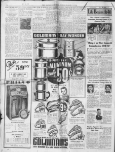 """Fig.14a. """"Many of our most Successful Graduates are over 50"""". Publicité pour Fleischmann's Yeast (série """"Life Begins at 40""""). Kansas City Star, Friday, March 11, 1938 (détail). Source : J. Walter Thompson Company. 35mm Microfilm Proofs, 1906-1960 and undated. Reel 49."""