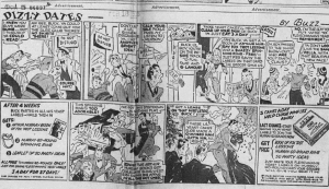 """Fig.3. """"Dizzy Dates"""". Publicité pour Flesichmann's Yeast. The New York Sun, Thursday December 23, 1937, p.12. Source : J. Walter Thompson Company. 35mm Microfilm Proofs, 1906-1960 and undated. Reel 49."""