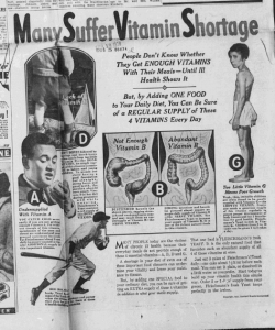 """Fig.10. """"Many suffer vitamines shortage"""". Publicité pour Fleischmann's Yeast. Huntington Advertiser, W. Va, Tuesday Evening, November 16, 1937, p.9 (détail). Source : J. Walter Thompson Company. 35mm Microfilm Proofs, 1906-1960 and undated. Reel 49."""