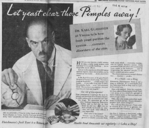 """Fig.16a. """"Let Yeast clear those pimples away"""". Publicité pour Fleischmann's Yeast. New York World Telegraph, Monday, Septembre 21, 1931, p.19 (détail). Source : J. Walter Thompson Company. 35mm Microfilm Proofs, 1906-1960 and undated. Reel 49."""