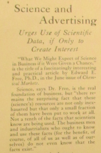 "Fig.7. ""Science and Advertising"", News Bulletin, Vol X no16, 15 août 1928, p.4. Source : J. Walter Thompson Newsletter Collection, 1910-2005, Box MN7 (1925-1927). Box MN8 (1927-1930)."