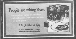 "Fig. 1. ""People are taking yeast"". Car cards pour Fleischmann's Yeast, décembre 1920-janvier 1921. Source : J. Walter Thompson Company. 35mm Microfilm Proofs, 1906-1960 and undated. Reel 26."