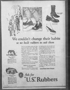 Fig.25. « We couldn't change their habits. So we built rubbers to suit them ». New York Journal, 11 janvier 1923.  Source : J. Walter Thompson Company. 35mm Microfilm Proofs, 1906-1960 and undated. Reels 38.
