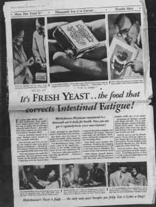 """Fig.15.  """"It's Fresh Yeast..."""" Publicité pour Fleischmann's Yeast. Kansas Farmer, January 17, 1931, p.9. Source : J. Walter Thompson Company. 35mm Microfilm Proofs, 1906-1960 and undated. Reel 49."""