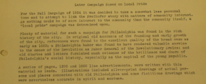 """Later Campaign based on 'local pride'"". Account Histories - Freihofer Baking Company. 30 décembre 1925, p.2. Source : J. Walter Thompson Company. Account Files, 1885-2008 and undated, bulk 1920-1995. Box 22 c.1"