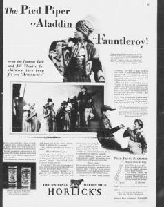 V23. The Pied Piper Aladin. Fauntleroy. Ladies Home Journal, avril 1929. Dans la même série que la piscine, la publicité s'adresse aux mères actives   qui s'investissent cette fois non pas dans l'éducation physique de l'enfant mais dans son épanouissement artistique et émotionnel. Elles encadrent et accompagnent la pratique théâtrale toute aussi dévoreuse d'énergie. La série dans son ensemble érige les femmes en professionnelles de la maternité et de l'élevage des enfants, comme en Chine à la même époque (Schneider 2011). Mais ces femmes modernes ne restent pas enfermés dans l'espace domestique : conformément aux recommandations nouvelles des pédagogues, l'enfant et sa mère doivent s'épanouir en société.