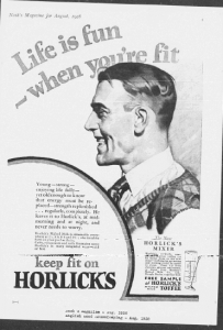 V30. Life is fun when you're fit (3 - male - female). Nash's Magazine, Août 1928, p.1. English Good Housekeeping, Août 1928, p.1. Il s'agit d'une version masculine de la série « fit youth » : outre l'illustration représente un jeune homme de la haute société portant chemise, cravate et gilet à carreaux, les attributs (force physique) suggèrent la masculinité (strong, strength) et le medium est un magazine masculin (Nash's). Toutefois, les valeurs transversales de la jeunesse (fun, fit, health) autorise cette même image a paraître également dans le magazine féminin English Good Housekeeping. S'il répond sans doute à un souci d'économie, ce recyclage a pour effet de renverser le traditionnel sex appeal : ce n'est plus la femme qui est exposée comme appât pour attirer le regard du consommateur masculin, mais l'inverse.