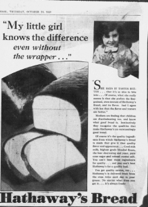 Fig.5. My little girl knows the difference. Publicité pour Hathaway Baking Co. The Salem Evening News, Mass., 24 octobre 1929. Source : J. Walter Thompson Company. 35mm Microfilm Proofs, 1906-1960 and undated. Reel 12