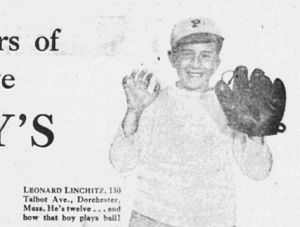 Fig.2b. Leonard Linchitz, 130 Talbot Ave., Dorchester, Mass. He's twelve… and how that boy plays ball! » Sons and daughters of women who serve Hathaway bread. Publicité pour Hathaway Baking Co. The Salem Evening News, 7 Octobre 1929, p.3 (détail). Source : J. Walter Thompson Company. 35mm Microfilm Proofs, 1906-1960 and undated. Reel 12