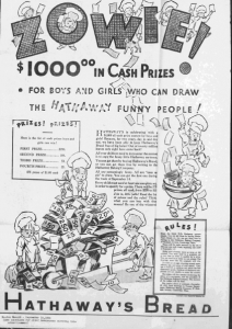"""Fig.7. """"Zowie! $1000 in cash prizes"""". Publicité pour Hathaway Baking Co. Boston Herald. 15 Septembre 1931. Source : J. Walter Thompson Company. 35mm Microfilm Proofs, 1906-1960 and undated. Reel 12"""