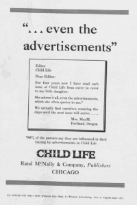 "Fig.24. ""Even the advertisements"". Publicité pour Child Life Magazine. Source inconnue, vers 1925. Source : J. Walter Thompson Company. 35mm Microfilm Proofs, 1906-1960 and undated. Reel 25."