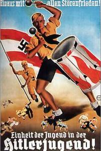 """Fig.19. """"Dehors les perturbateurs de la paix ! Unité de la jeunesse dans les Jeunesses hitlériennes ! », Affiche, Allemagne, 1936. Source : http://edwige.roland.pagesperso-orange.fr/troisieme/annees30/allemagne/jeunes.html"""