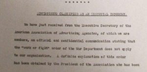 "Fig.14. Advertising as an Essential Industry"" Newsbulletin no60, 5 août 1918, p.4. Source : J. Walter Thompson Newsletter Collection, 1910-2005, Box MN2 (1916-1922)."