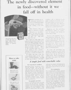 Fig. « The newly discovered element in food - without it we fall off in health ». Publicité pour Fleischmann's Yeast, source inconnue, v. 1921. Source : J. Walter Thompson Company. 35mm Microfilm Proofs, 1906-1960 and undated. Reel 26.