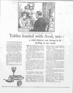 """Fig.15. """"Tables loaded with food - yet"""". Publicité pour Fleischmann's Yeast, source inconnue, v. 1921. Source : J. Walter Thompson Company. 35mm Microfilm Proofs, 1906-1960 and undated. Reel 26. La scène de famille inclut une petite fille à droite. Toutefois elle est mise à l'écart de la conversation qui porte sur Yeast et ne concerne à l'évidence que les adultes - l'homme en l'occurrence. Mais le publicitaire peut espérer que les quelques bribes qu'elle aura retenu de ces conversations adultes la rendront réceptive aux campagnes futures et en feront une consommatrice potentielle une fois devenue adulte."""
