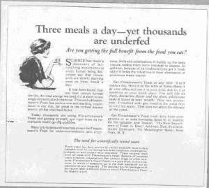 "Fig.16.""Three meals a day - and yet thousands are unfed"", Publicité pour Fleischmann's Yeast, source inconnue, v. 1921. Source : J. Walter Thompson Company. 35mm Microfilm Proofs, 1906-1960 and undated. Reel 26."
