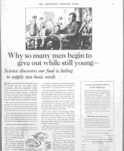 Fig.23. « Why so many men begin to give out while still young ». Publicité pour Fleischmann's Yeast, The Saturday Evening Post, v. 1921p. 31. Source : J. Walter Thompson Company. 35mm Microfilm Proofs, 1906-1960 and undated. Reel 26.