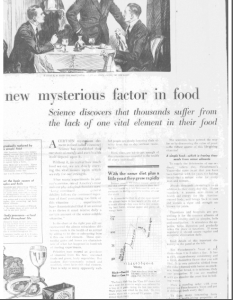 Fig.29 « A new mysterious factors in food. » Publicité pour Fleischmann's Yeast, source inconnue, v. 1921. Source : J. Walter Thompson Company. 35mm Microfilm Proofs, 1906-1960 and undated. Reel 26.