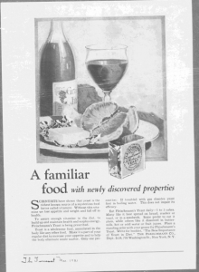 Fig.24 « A familiar food - with newly discovered properties ». Publicité pour Fleischmann's Yeast, The Forecast, mars 1921. Source : J. Walter Thompson Company. 35mm Microfilm Proofs, 1906-1960 and undated. Reel 26. Le produit est à la fois ancien et nouveau, inconnu et familier : la publicité sert de passeur entre ancien et nouveau : elle rend l'inconnu familier et l'inquiétant sympathique.