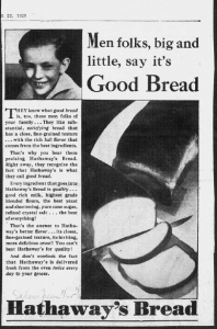 """Fig.4. """"Men folks, big and little, say it's good bread », Publicité pour Hathaway Baking Co. The Salem Evening News, Octobre 1929. Source : J. Walter Thompson Company. 35mm Microfilm Proofs, 1906-1960 and undated. Reel 12"""