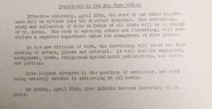 "Fig.4. ""Promotions in the New York Office"". Newsbulletin no44, 23 avril 1917, p.3. Source : J. Walter Thompson Newsletter Collection, 1910-2005, Box MN2 (1916-1922)."