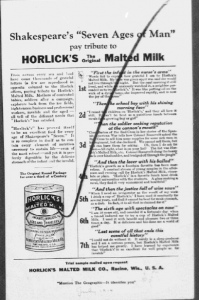 """V8. """"Shakespeare's 'Seven Ages of Man' pay tributes to Horlick's The Original Malted Milk (2). Saturday Evening Post, 29 mars 1919. Source : J. Walter Thompson Company. 35mm Microfilm Proofs, 1906-1960 and undated. Reel 12."""
