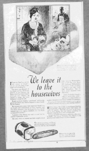 "Fig.17.  We leave it to the housewives"", Publicité pour Freihofer's Fine Bread, Trenton Evening Times, 20 janvier 1926. Source : J. Walter Thompson Company. 35mm Microfilm Proofs, 1906-1960 and undated. Reel 9."