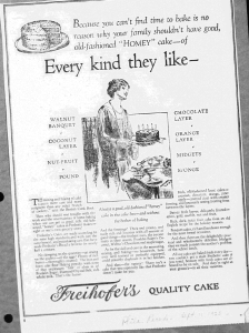 Fig.22. Every kind they like », Publicité pour Freihofer's Quality Cake, Philadelphia Record, 11 septembre 1926. Source : J. Walter Thompson Company. 35mm Microfilm Proofs, 1906-1960 and undated. Reel 9.