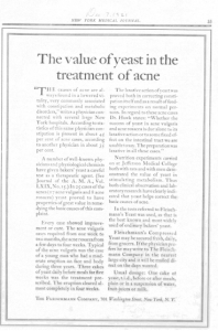 Fig « The value of yeast in the treatment of acne », New York Medical Journal, 9 décembre 1921, p.55. Source : J. Walter Thompson Company. 35mm Microfilm Proofs, 1906-1960 and undated. Reel 26.