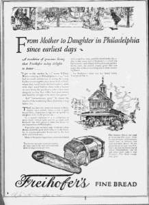 "Fig.6. ""From Mother to Daughter in Philadelphia since the earliest days ». Publicité pour Freihofer's Fine Bread, Philadelphia Inquirer, avril 1925. Source : J. Walter Thompson Company. 35mm Microfilm Proofs, 1906-1960 and undated. Reel 9."