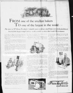 Fig.28. From one of the smallest bakers to one of the largest in the world », . Publicité pour Freihofer's Fine Bread, Trenton Evening Times, 26 février 1923. Source : J. Walter Thompson Company. 35mm Microfilm Proofs, 1906-1960 and undated. Reel 9.