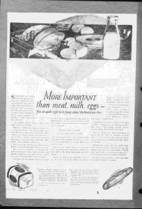 Fig. 24. More important than meast, milk, eggs ». Publicité pour Freihofer's Fine Bread, Trenton Evening Times, 20 janvier 1926. Source : J. Walter Thompson Company. 35mm Microfilm Proofs, 1906-1960 and undated. Reel 9.