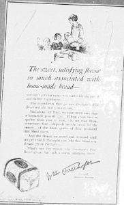 « The sweet satisfying flavor… » Publicité pour Freihofer's Fine Bread, Trenton Times, 26 avril 1923. Source : J. Walter Thompson Company. 35mm Microfilm Proofs, 1906-1960 and undated. Reel 9.